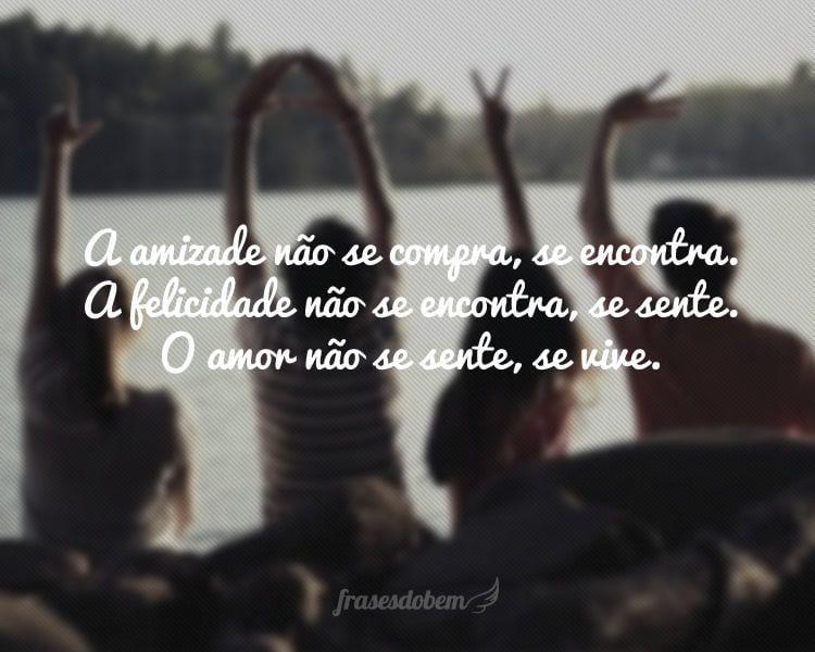 A amizade não se compra, se encontra. A felicidade não se encontra, se sente. O amor não se sente, se vive.