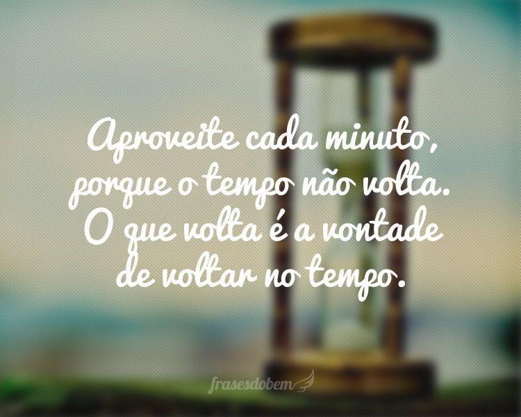 Aproveite cada minuto, porque o tempo não volta. O que volta é a vontade de voltar no tempo.