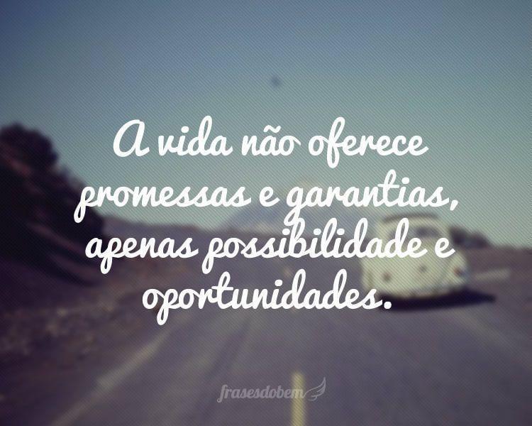 A vida não oferece promessas e garantias, apenas possibilidade e oportunidades.