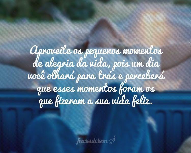 Aproveite os pequenos momentos de alegria da vida, pois um dia você olhará para trás e perceberá que esses momentos foram os que fizeram a sua vida feliz.