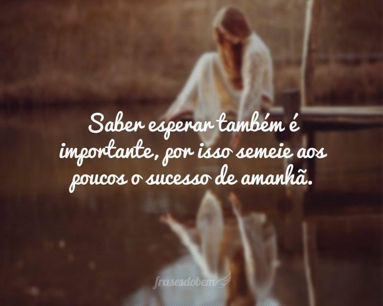 Saber esperar também é importante, por isso semeie aos poucos o sucesso de amanhã.