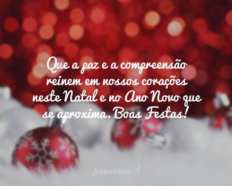 Que a paz e a compreensão reinem em nossos corações neste Natal e no Ano Novo que se aproxima. Boas Festas!
