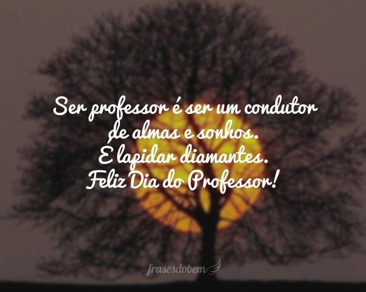 Ser professor é ser um condutor de almas e sonhos. É lapidar diamantes. Feliz Dia do Professor!