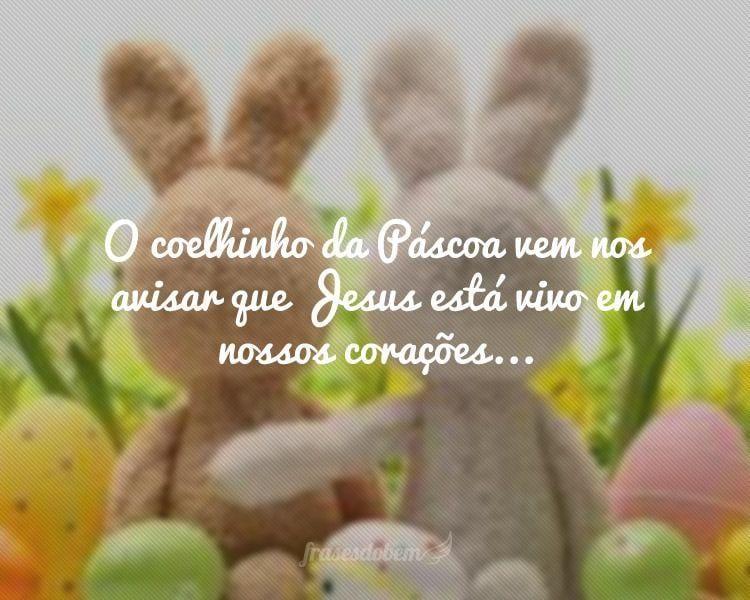 O coelhinho da Páscoa vem nos avisar que Jesus está vivo em nossos corações...