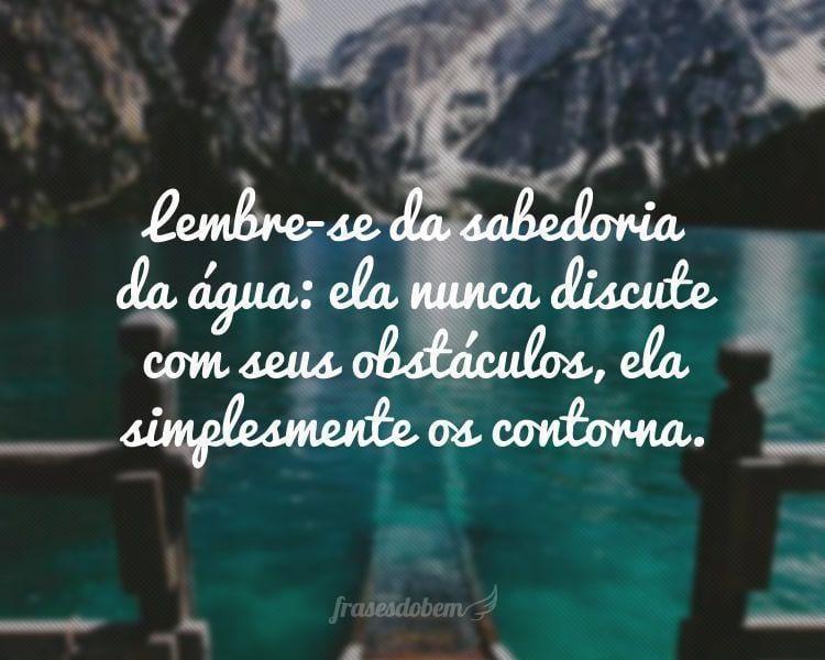 Lembre-se da sabedoria da água: ela nunca discute com seus obstáculos, ela simplesmente os contorna.