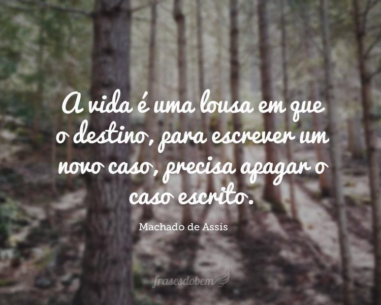 A vida é uma lousa em que o destino, para escrever um novo caso, precisa apagar o caso escrito.