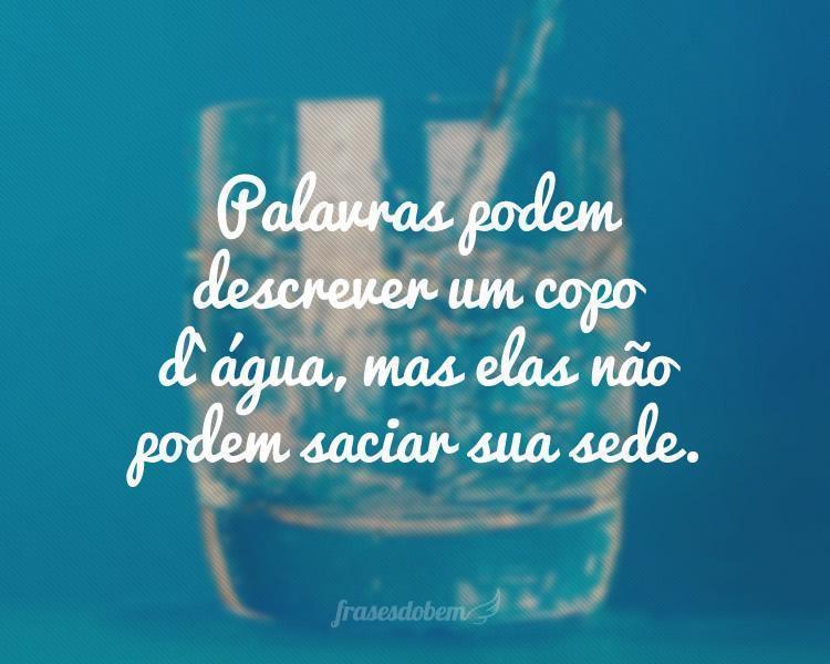 Palavras podem descrever um copo d`água, mas elas não podem saciar sua sede.