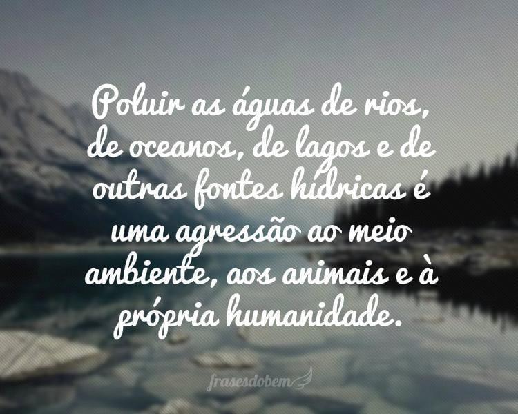 Poluir as águas de rios, de oceanos, de lagos e de outras fontes hídricas é uma agressão ao meio ambiente, aos animais e à própria humanidade.