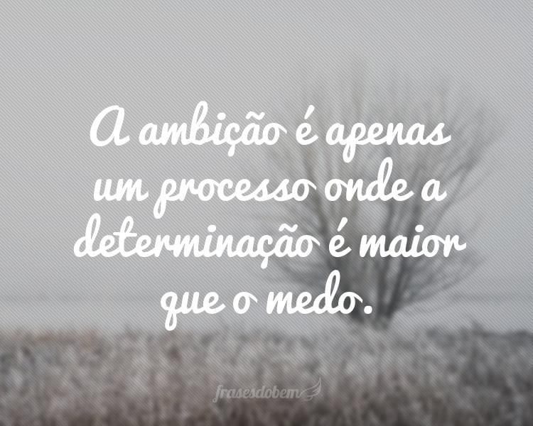 A ambição é apenas um processo onde a determinação é maior que o medo.