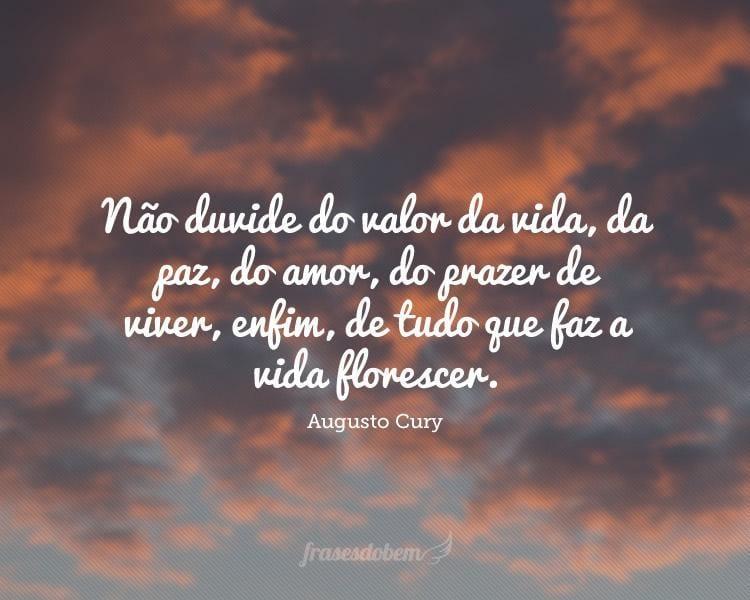Não duvide do valor da vida, da paz, do amor, do prazer de viver, enfim, de tudo que faz a vida florescer.
