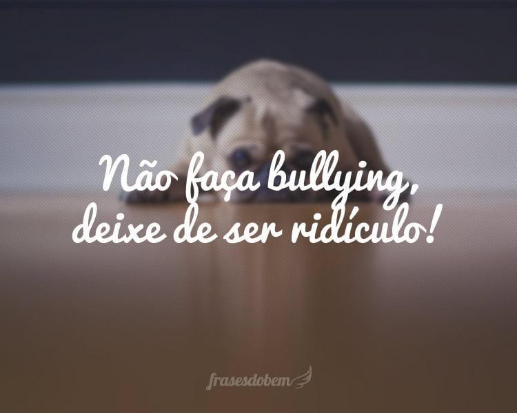 Não faça bullying, deixe de ser ridículo!