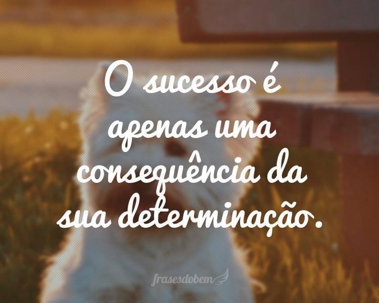 O sucesso é apenas uma consequência da sua determinação.