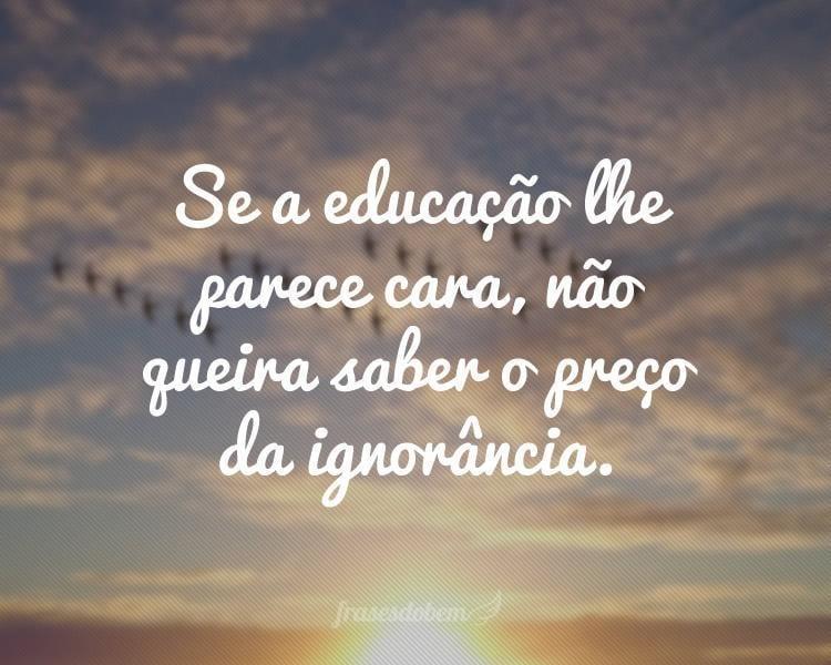 Se a educação lhe parece cara, não queira saber o preço da ignorância.