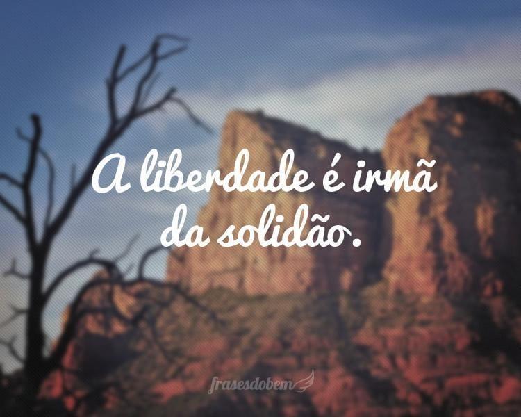 A liberdade é irmã da solidão.