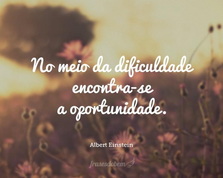 No meio da dificuldade encontra-se a oportunidade.