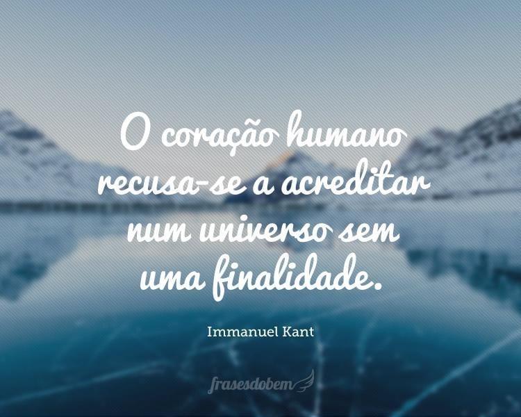 O coração humano recusa-se a acreditar num universo sem uma finalidade.