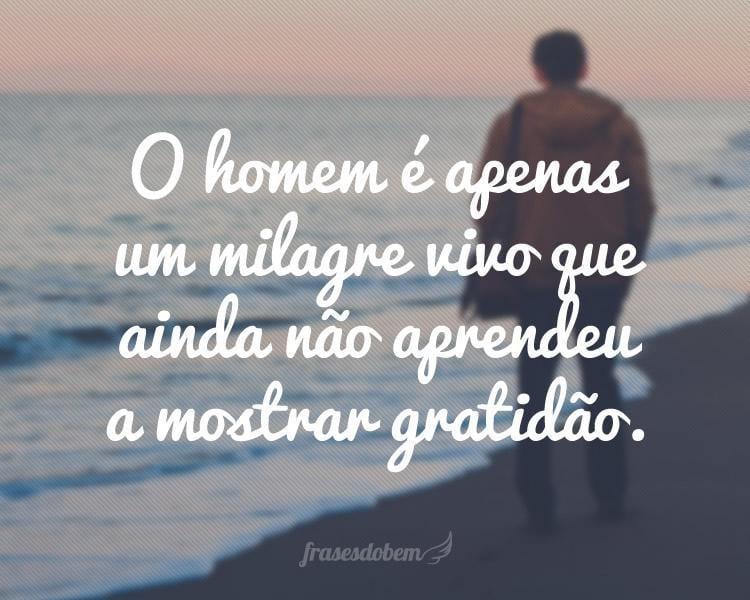 O homem é apenas um milagre vivo que ainda não aprendeu a mostrar gratidão.