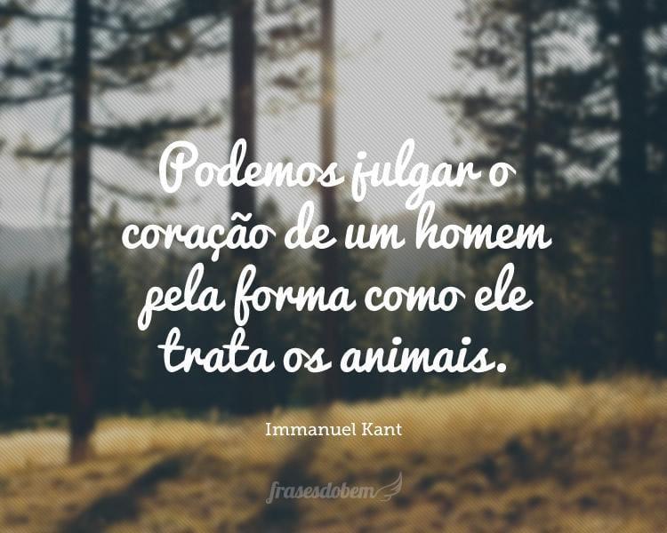 Podemos julgar o coração de um homem pela forma como ele trata os animais.