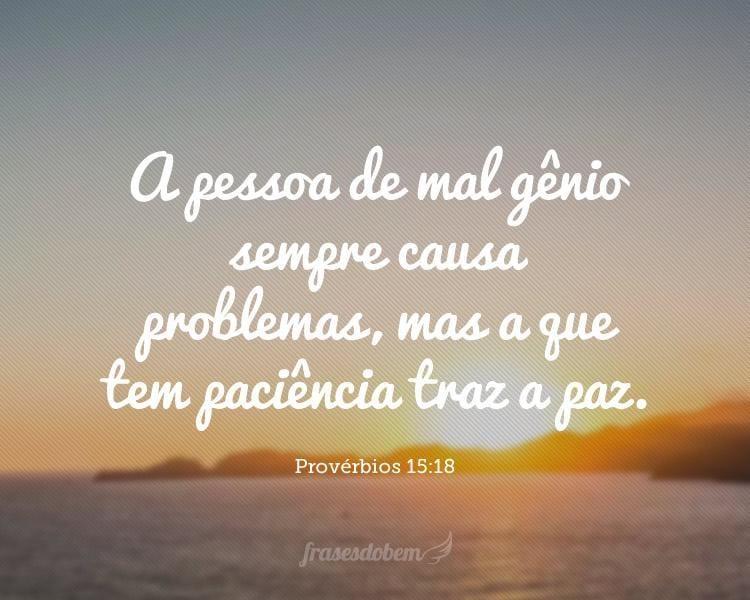 A pessoa de mal gênio sempre causa problemas, mas a que tem paciência traz a paz. Provérbios 15:18