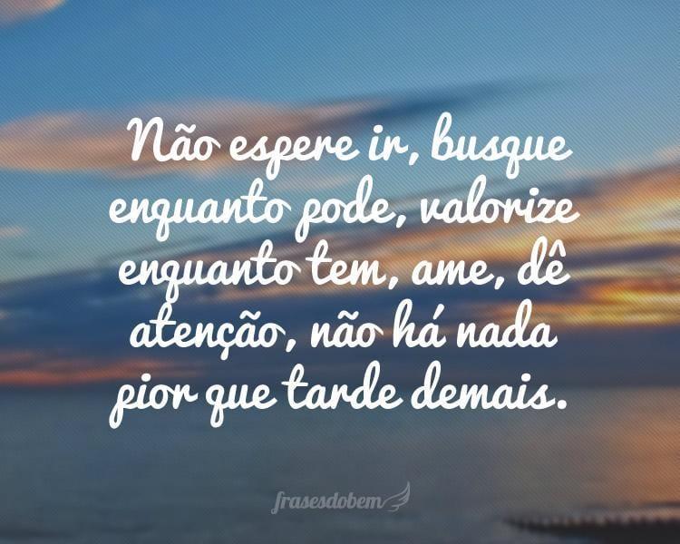 Não espere ir, busque enquanto pode, valorize enquanto tem, ame, dê atenção, não há nada pior que tarde demais.