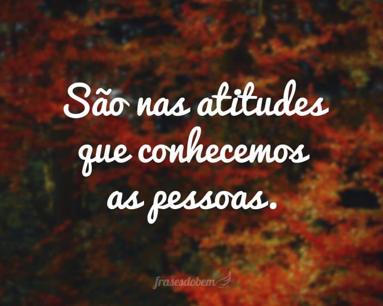 São nas atitudes que conhecemos as pessoas.