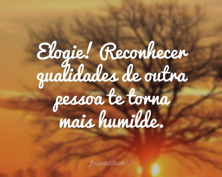 Elogie! Reconhecer qualidades de outra pessoa te torna mais humilde.