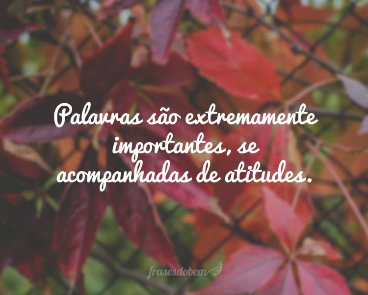 Palavras são extremamente importantes, se acompanhadas de atitudes.