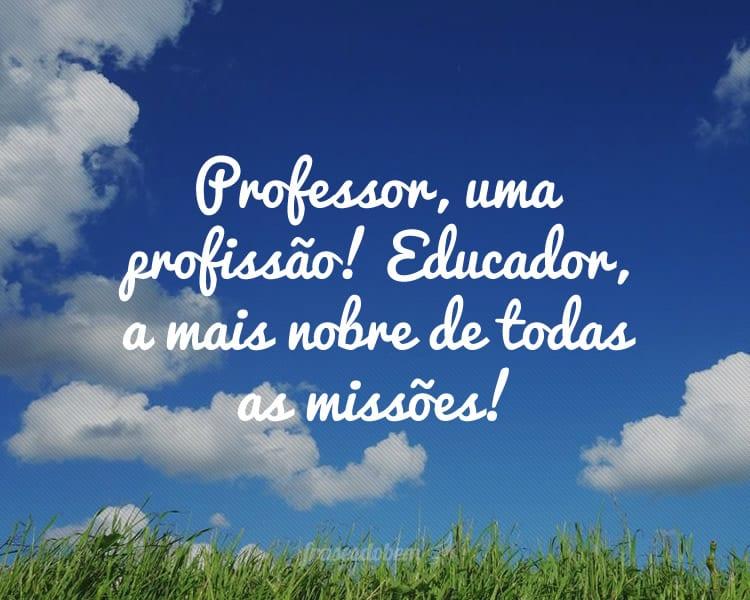 Professor, uma profissão! Educador, a mais nobre de todas as missões!