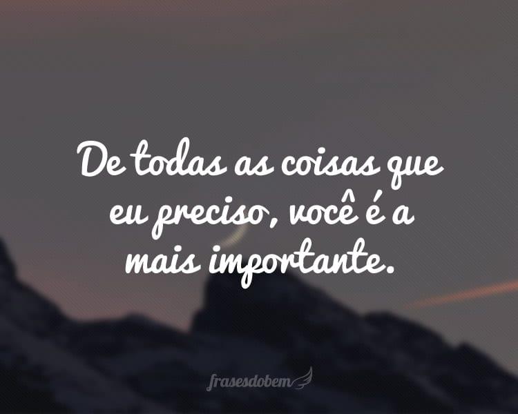De todas as coisas que eu preciso, você é a mais importante.