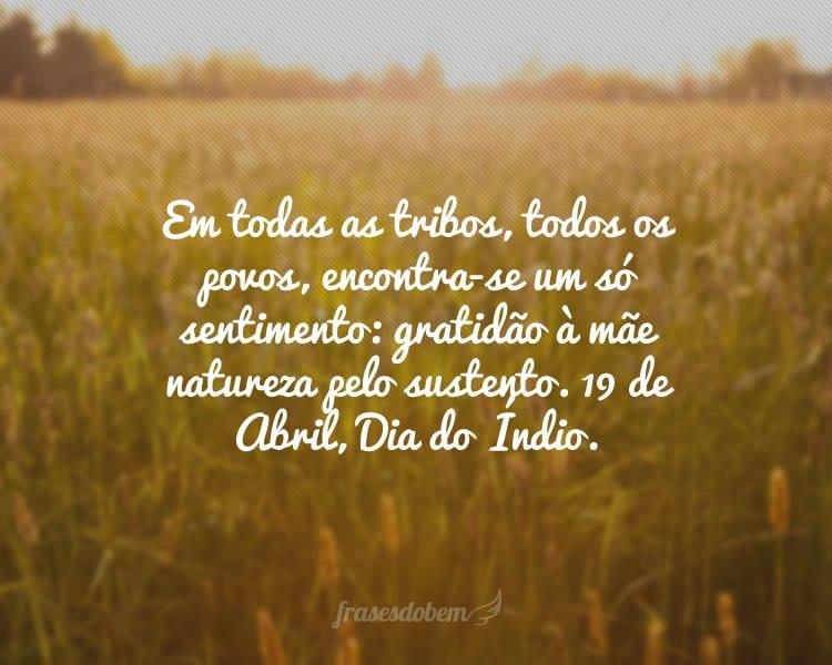 Em todas as tribos, todos os povos, encontra-se um só sentimento: gratidão à mãe natureza pelo sustento. 19 de Abril, Dia do Índio.