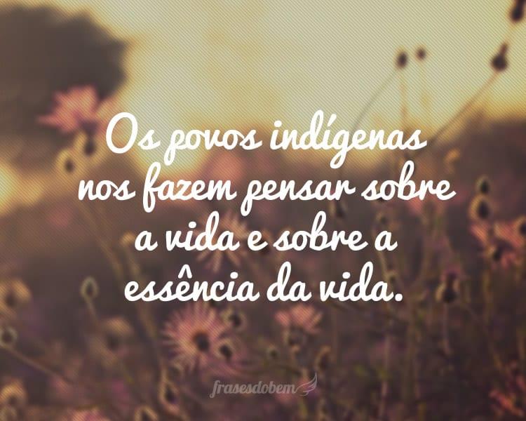 Os povos indígenas nos fazem pensar sobre a vida e sobre a essência da vida.