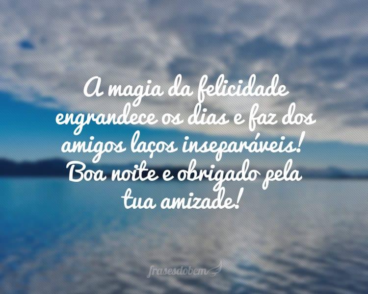 A magia da felicidade engrandece os dias e faz dos amigos laços inseparáveis! Boa noite e obrigado pela tua amizade!