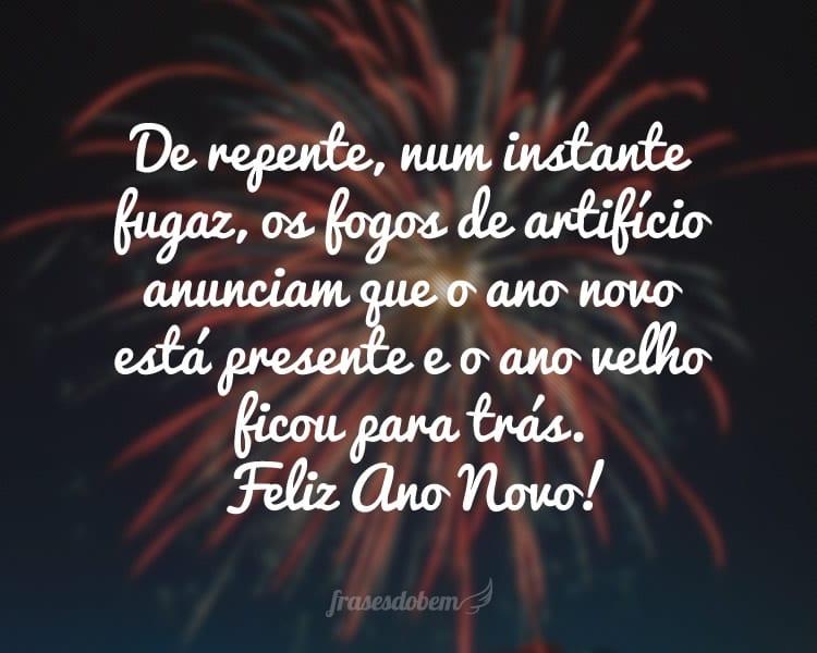 De repente, num instante fugaz, os fogos de artifício anunciam que o ano novo está presente e o ano velho ficou para trás. Feliz Ano Novo!