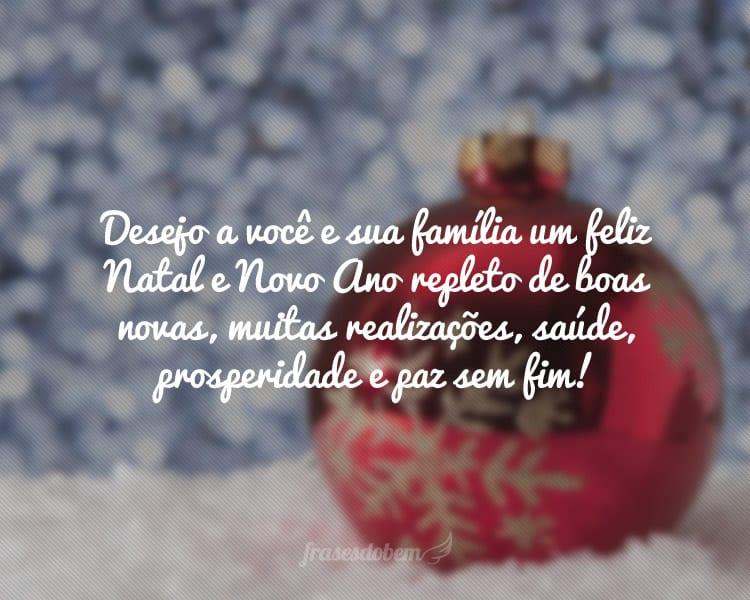 Desejo a você e sua família um feliz Natal e Novo Ano repleto de boas novas, muitas realizações, saúde, prosperidade e paz sem fim!