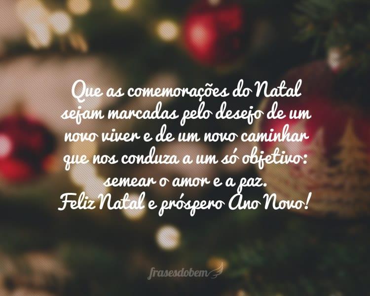 Que as comemorações do Natal sejam marcadas pelo desejo de um novo viver e de um novo caminhar que nos conduza a um só objetivo: semear o amor e a paz. Feliz Natal e próspero Ano Novo!