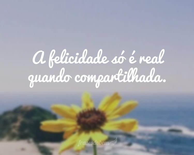 A felicidade só é real quando compartilhada.