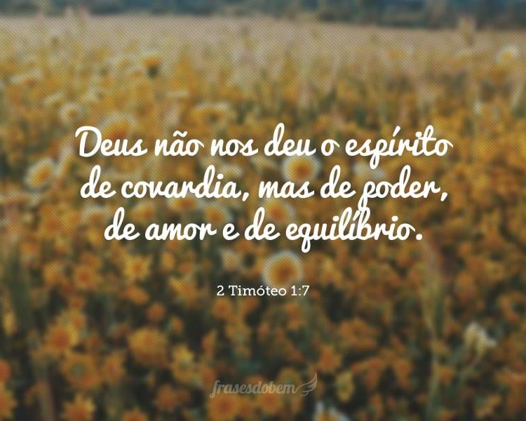 Deus não nos deu o espírito de covardia, mas de poder, de amor e de equilíbrio. 2 Timóteo 1:7