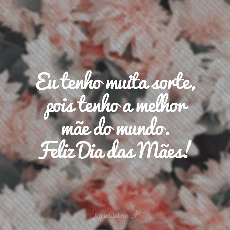 Eu tenho muita sorte, pois tenho a melhor mãe do mundo. Feliz Dia das Mães!