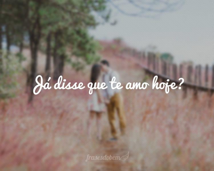 Já disse que te amo hoje?