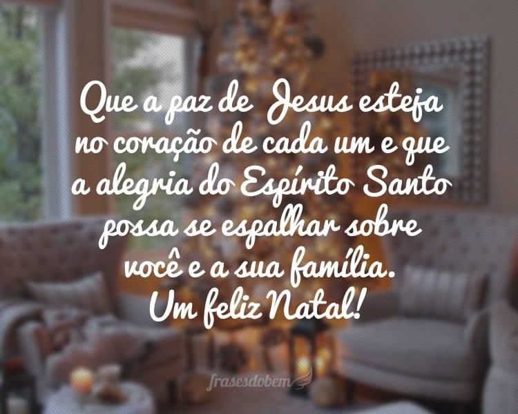 Que a paz de Jesus esteja no coração de cada um e que a alegria do Espírito Santo possa se espalhar sobre você e a sua família. Um feliz Natal!