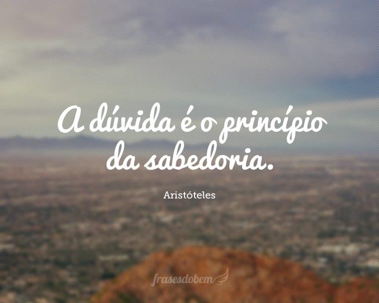 A dúvida é o princípio da sabedoria.