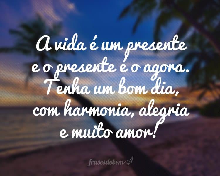 A vida é um presente e o presente é o agora. Tenha um bom dia, com harmonia, alegria e muito amor!