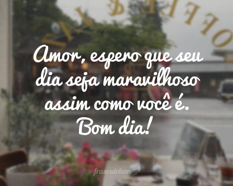 Amor, espero que seu dia seja maravilhoso assim como você é. Bom dia!