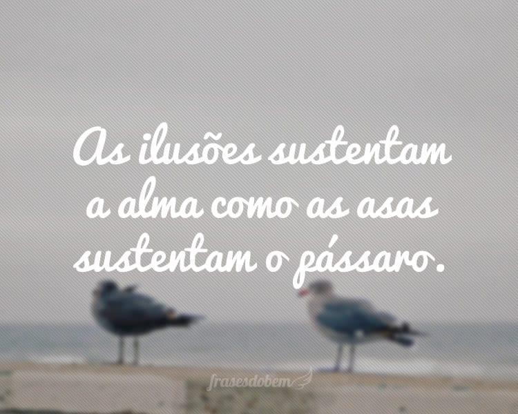 As ilusões sustentam a alma como as asas sustentam o pássaro.