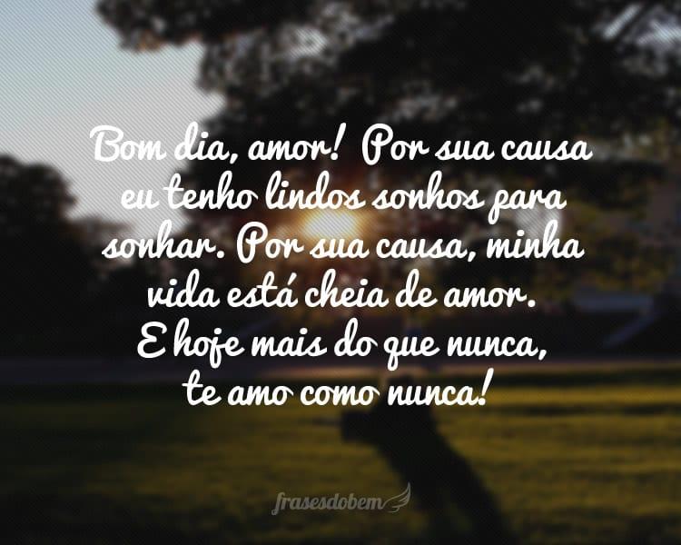Bom dia, amor! Por sua causa eu tenho lindos sonhos para sonhar. Por sua causa, minha vida está cheia de amor. E hoje mais do que nunca, te amo como nunca!