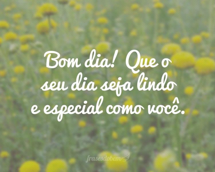 Bom dia! Que o seu dia seja lindo e especial como você.