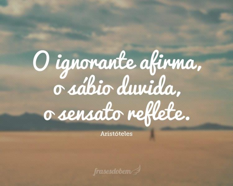O ignorante afirma, o sábio duvida, o sensato reflete.