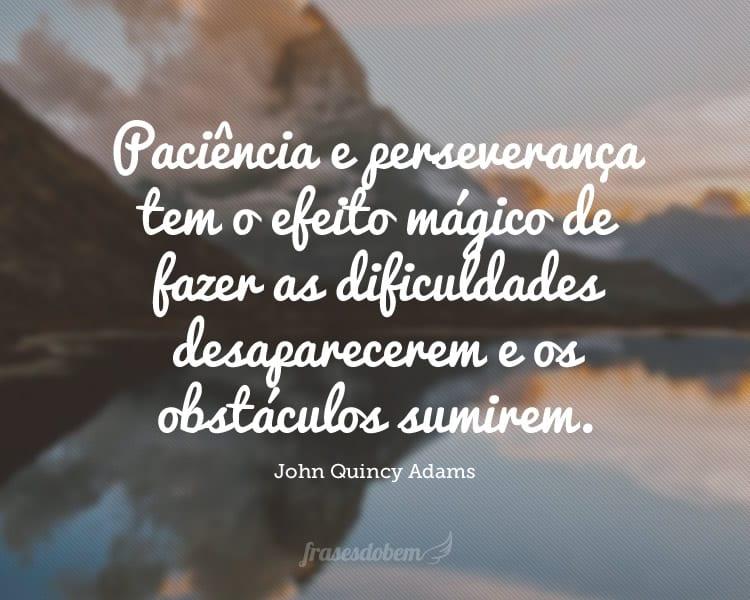 Paciência e perseverança tem o efeito mágico de fazer as dificuldades desaparecerem e os obstáculos sumirem.
