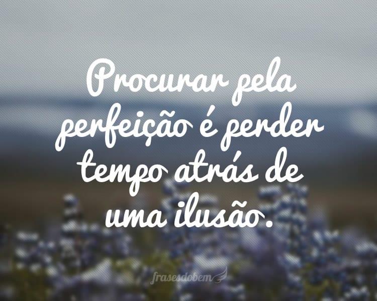 Procurar pela perfeição é perder tempo atrás de uma ilusão.