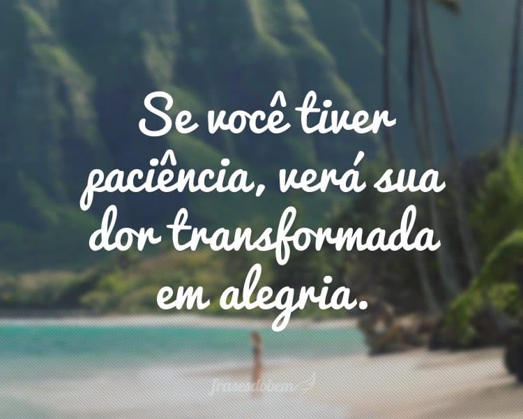 Se você tiver paciência, verá sua dor transformada em alegria.